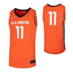 Illinois Fighting Illini #11 Authentic College Basketball Jersey Orange
