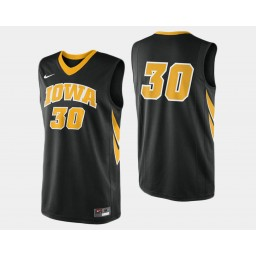 Iowa Hawkeyes #30 Aaron White Black Road Authentic College Basketball Jersey