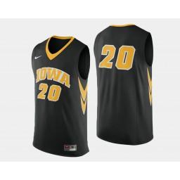 Iowa Hawkeyes #20 Jarrod Uthoff Black Road Authentic College Basketball Jersey