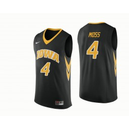 Iowa Hawkeyes #4 Isaiah Moss Authentic College Basketball Jersey Black