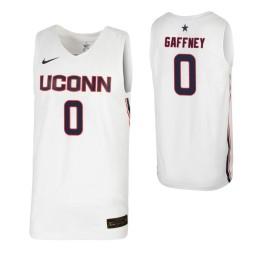 Women's UConn Huskies #0 Jalen Gaffney White Authentic College Basketball Jersey