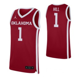 Youth Jalen Hill Authentic College Basketball Jersey Crimson Oklahoma Sooners