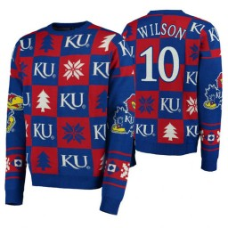Jalen Wilson Kansas Jayhawks Royal Pullover Sweater Patches Ugly