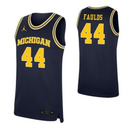 Youth Jaron Faulds Authentic College Basketball Jersey Navy Michigan Wolverines