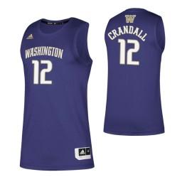 Women's Washington Huskies #12 Jason Crandall Purple Authentic College Basketball Jersey