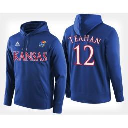 Kansas Jayhawks #12 Chris Teahan Blue Hoodie College Basketball