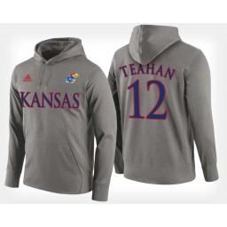 Kansas Jayhawks #12 Chris Teahan Gray Hoodie College Basketball