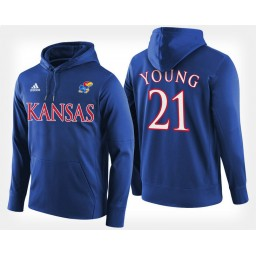 Kansas Jayhawks #21 Clay Young Blue Hoodie College Basketball