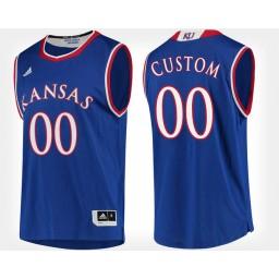 Kansas Jayhawks #00 Custom Blue Home Jersey College Basketball
