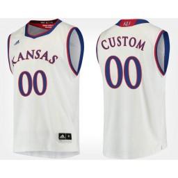 Kansas Jayhawks #00 Custom White Road Jersey College Basketball