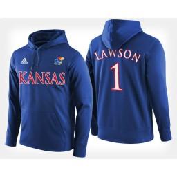 Kansas Jayhawks #1 Dedric Lawson Blue Hoodie College Basketball