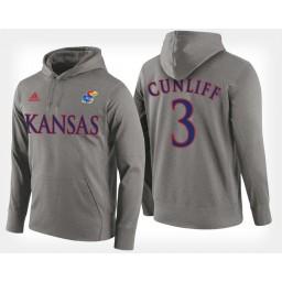 Kansas Jayhawks #3 Sam Cunliffe Gray Hoodie College Basketball
