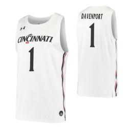 Cincinnati Bearcats #1 Jeremiah Davenport White Authentic College Basketball Jersey