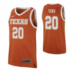 Youth Jericho Sims Authentic College Basketball Jersey Texas Orange Texas Longhorns