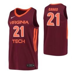 Women's John Ojiako Authentic College Basketball Jersey Maroon Virginia Tech Hokies