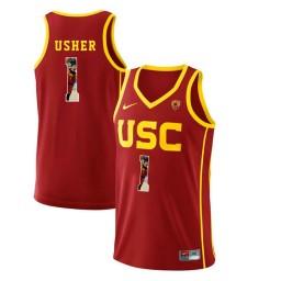 Women's USC Trojans #1 Jordan Usher Authentic College Basketball Jersey Red