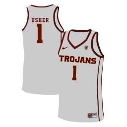 Women's USC Trojans #1 Jordan Usher Authentic College Basketball Jersey White