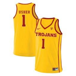 Women's USC Trojans #1 Jordan Usher Authentic College Basketball Jersey Yellow