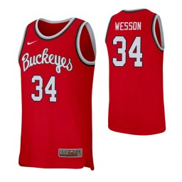 Women's Kaleb Wesson Authentic College Basketball Jersey Scarlet Ohio State Buckeyes