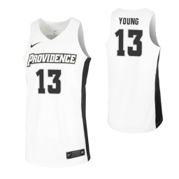Women's Providence Friars #13 Kalif Young White Authentic College Basketball Jersey