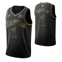 Youth Devon Dotson Kansas Jayhawks Black Golden Edition Authentic College Basketball Jersey