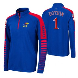 Kansas Jayhawks Devon Dotson Royal Rockzilla Raglan Quarter-Zip Jacket
