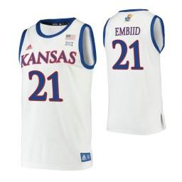 Youth Joel Embiid Kansas Jayhawks White Authentic College Basketball Jersey