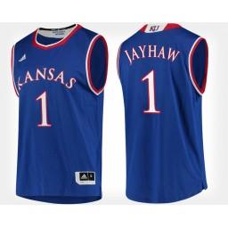 Kansas Jayhawks #1 Blue Authentic College Basketball Jersey