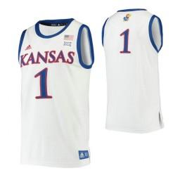 Kansas Jayhawks #1 Authentic College Basketball Jersey White