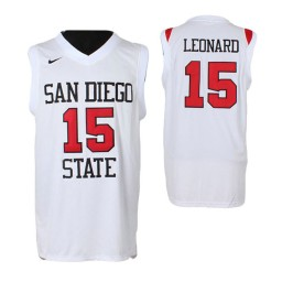 San Diego State Aztecs #15 Kawhi Leonard Authentic College Basketball Jersey White