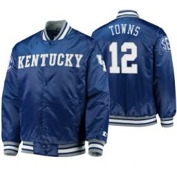 Kentucky Wildcats Karl-Anthony Towns Royal O-Line Varsity Full-Button Satin Jacket