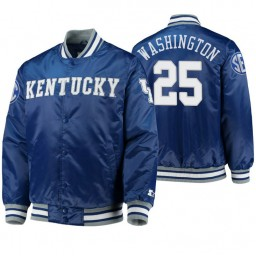 Kentucky Wildcats P.J. Washington Royal O-Line Varsity Full-Button Satin Jacket