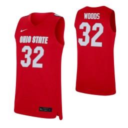 Women's Keyshawn Woods Authentic College Basketball Jersey Scarlet Ohio State Buckeyes