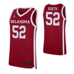 Youth Kur Kuath Authentic College Basketball Jersey Crimson Oklahoma Sooners