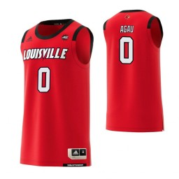 Women's Louisville Cardinals #0 Akoy Agau Authentic College Basketball Jersey Red