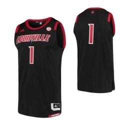 Louisville Cardinals #1 Basketball Adidas Authentic College Basketball Jersey Black