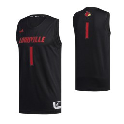 Louisville Cardinals #1 Basketball Authentic College Basketball Jersey Black