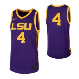 LSU Tigers #4 Authentic College Basketball Jersey Purple