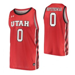 Youth Utah Utes #0 Luc Krystkowiak Red Authentic College Basketball Jersey