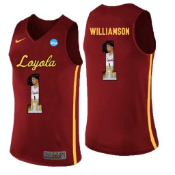 Women's Loyola (Chi) Ramblers #1 Lucas Williamson Authentic College Basketball Jersey Red