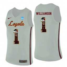 Women's Loyola (Chi) Ramblers #1 Lucas Williamson Authentic College Basketball Jersey White