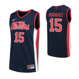 Youth Ole Miss Rebels 15 Luis Rodriguez Authentic College Basketball Jersey Navy