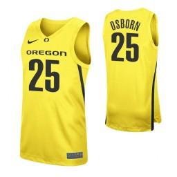 Youth Luke Osborn Authentic College Basketball Jersey Yellow Oregon Ducks