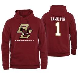 Boston College Eagles #1 Jairus Hamilton Maroon Basketball Hoodie