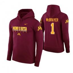Minnesota Golden Gophers #1 Dupree McBrayer Men's Maroon College Basketball Hoodie