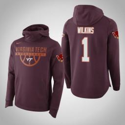 Virginia Tech Hokies #1 Isaiah Wilkins Men's Maroon Elite College Basketball Hoodie