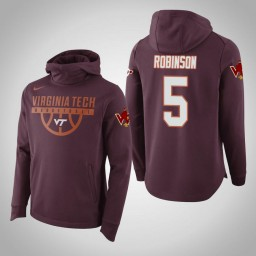 Virginia Tech Hokies #5 Justin Robinson Men's Maroon Elite College Basketball Hoodie