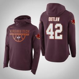 Virginia Tech Hokies #42 Ty Outlaw Men's Maroon Elite College Basketball Hoodie