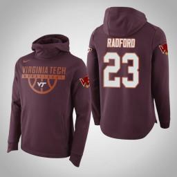 Virginia Tech Hokies #23 Tyrece Radford Men's Maroon Elite College Basketball Hoodie