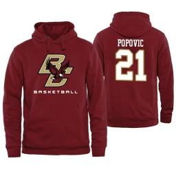 Boston College Eagles #21 Nik Popovic Maroon Basketball Hoodie